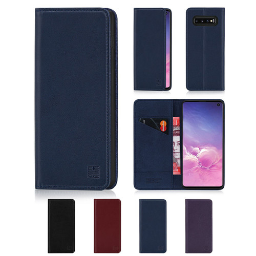 Samsung Galaxy S10 'Classic Series' Real Leather Book Wallet Case