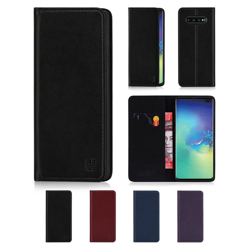 Samsung Galaxy S10 Plus 'Classic Series' Real Leather Book Wallet Case