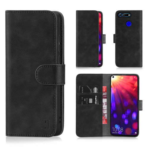 Huawei Honor View 20 'Essential Series' PU Leather Wallet Case Cover – Black