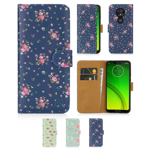 Motorola Moto G7 Power 'Floral Series' PU Leather Design Book Wallet Case