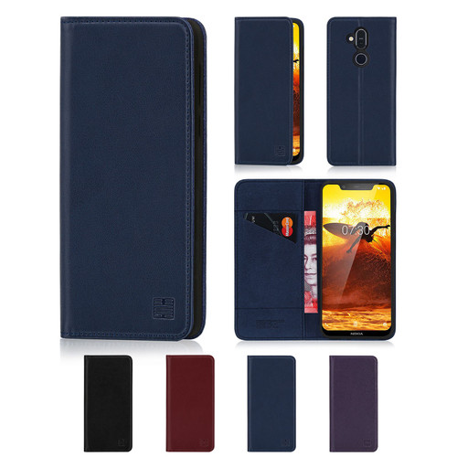 Nokia 8.1 (2019) 'Classic Series' Real Leather Book Wallet Case