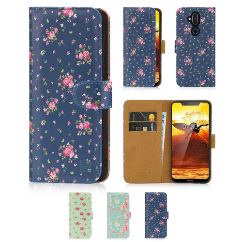 Nokia 8.1 (2019) 'Floral Series' PU Leather Design Book Wallet Case