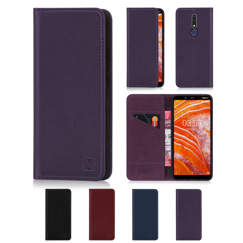 Nokia 3.1 Plus (2018) 'Classic Series' Real Leather Book Wallet Case