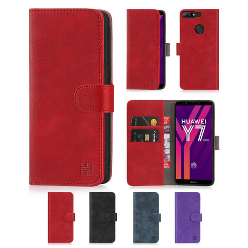 Huawei Y7 (2018) 'Essential Series' PU Leather Wallet Case Cover