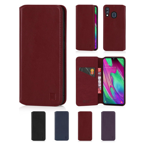 Samsung Galaxy A40 (2019) 'Classic Series 2.0' Real Leather Book Wallet Case