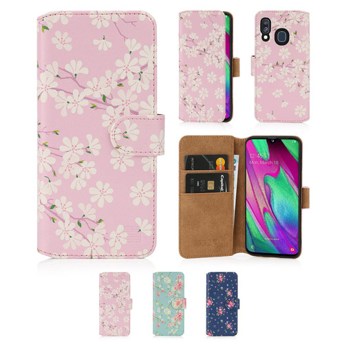Samsung Galaxy A40 (2019) 'Floral Series 2.0' PU Leather Design Book Wallet Case
