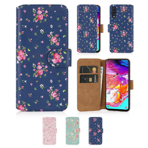 Samsung Galaxy A70 (2019) 'Floral Series 2.0' PU Leather Design Book Wallet Case