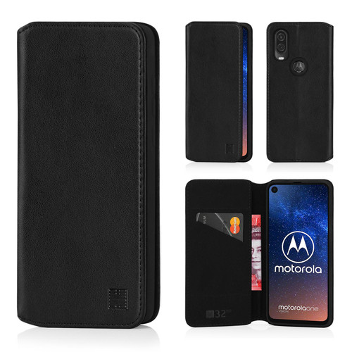 Motorola Moto One Vision 'Classic Series 2.0' Real Leather Book Wallet Case