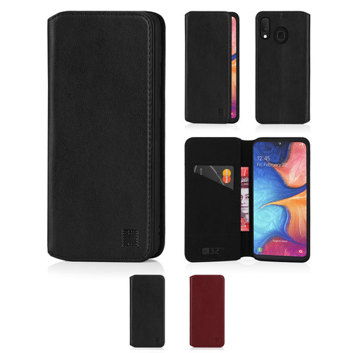 Samsung Galaxy A20e (2019) 'Classic Series 2.0' Real Leather Book Wallet Case