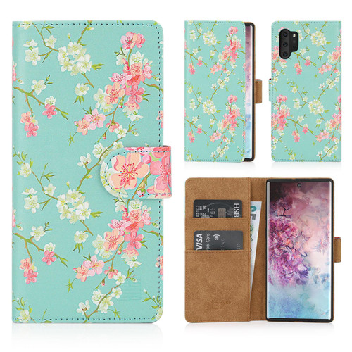 Samsung Galaxy Note 10 Plus 'Floral Series' PU Leather Design Book Wallet Case