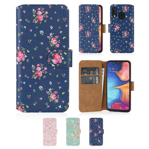 Samsung Galaxy A20e (2019) 'Floral Series 2.0' PU Leather Design Book Wallet Case