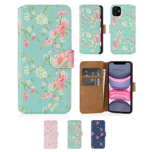"Apple iPhone 11 (6.1"") 'Floral Series 2.0' PU Leather Design Book Wallet Case"