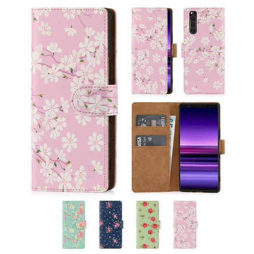 Sony Xperia 5 (2019) 'Floral Series' PU Leather Design Book Wallet Case