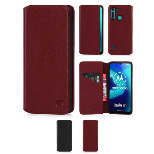 Motorola Moto G8 Power Lite 'Classic Series 2.0' Real Leather Book Wallet Case