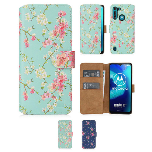 Motorola Moto G8 Power Lite 'Floral Series 2.0' PU Leather Design Book Wallet Case