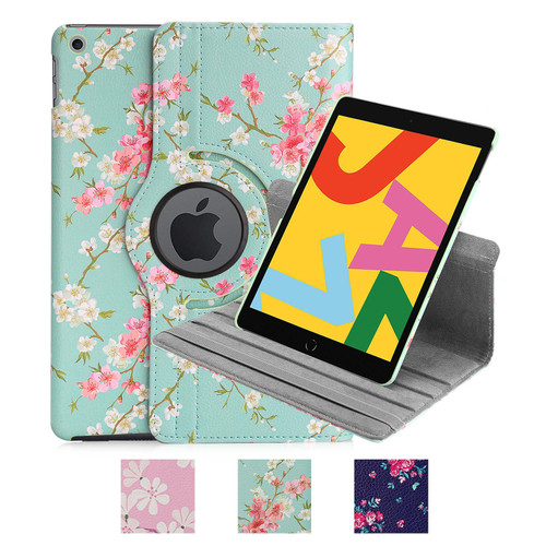 "Apple iPad 10.2"" (2019) / iPad 10.2 (2020) 'Floral Series' PU Leather Design 360 Tablet Case"