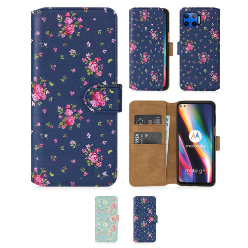 Motorola Moto G 5G Plus (2020) 'Floral Series 2.0' PU Leather Design Book Wallet Case