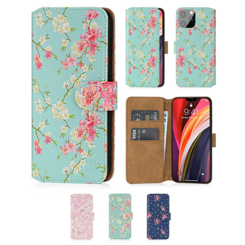 "Apple iPhone 12 Pro Max (6.7"") 'Floral Series 2.0' PU Leather Design Book Wallet Case"