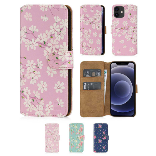 "Apple iPhone 12 (6.1"") / iPhone 12 Pro (6.1"") 'Floral Series 2.0' PU Leather Design Book Wallet Case"