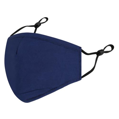 4 Layer Plain Reusable Cotton Face Mask - Navy Blue