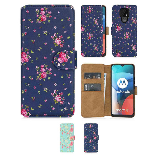 Motorola Moto E7 'Floral Series 2.0' PU Leather Design Book Wallet Case