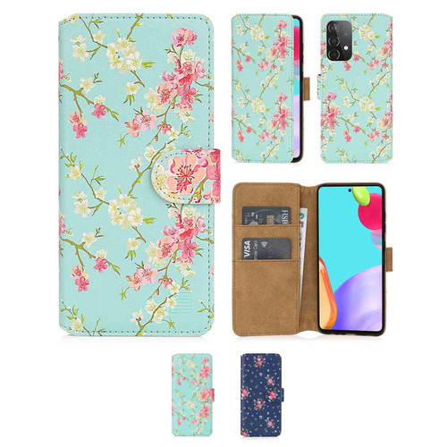 Samsung Galaxy A52 5G (2021) 'Floral Series 2.0' PU Leather Design Book Wallet Case
