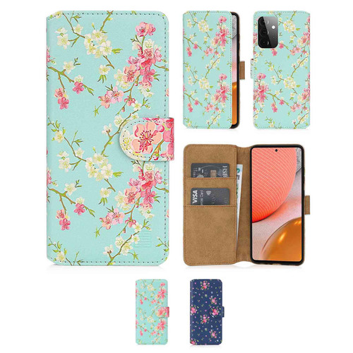 Samsung Galaxy A72 5G (2021) 'Floral Series 2.0' PU Leather Design Book Wallet Case