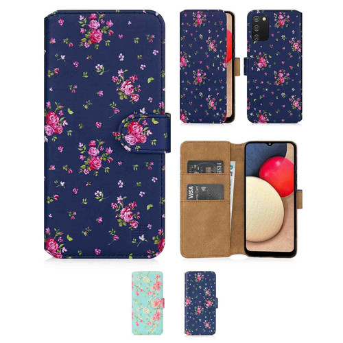 Samsung Galaxy A02S 'Floral Series 2.0' PU Leather Design Book Wallet Case
