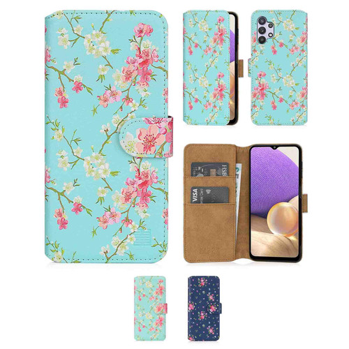 Samsung Galaxy A32 5G (2021) 'Floral Series 2.0' PU Leather Design Book Wallet Case