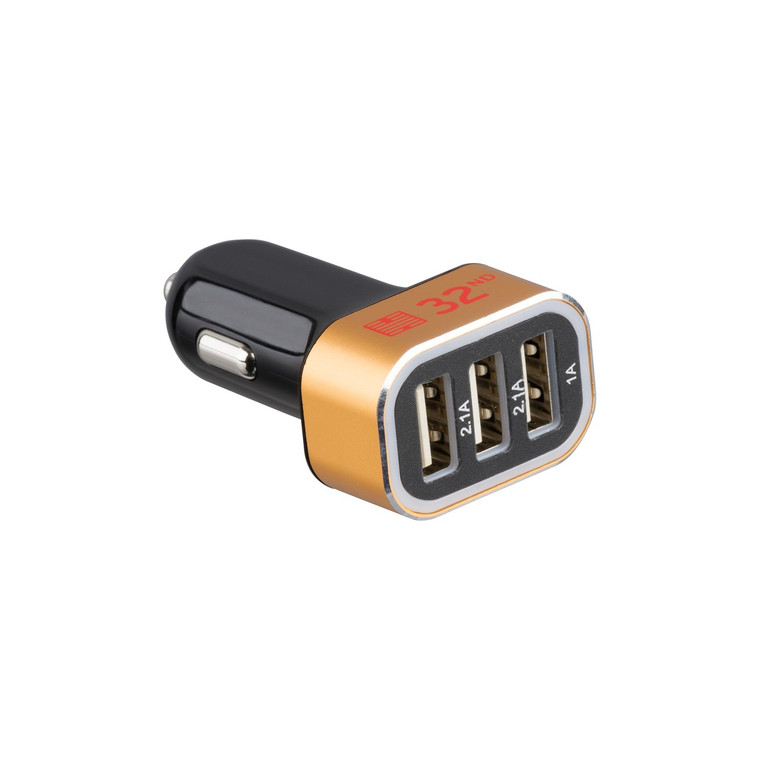 32nd 3 port USB in car phone and tablet charger.