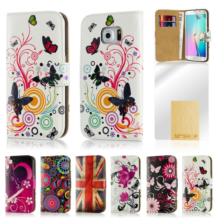 32nd attractive faux leather design book wallet Samsung Galaxy S6 Edge Case.