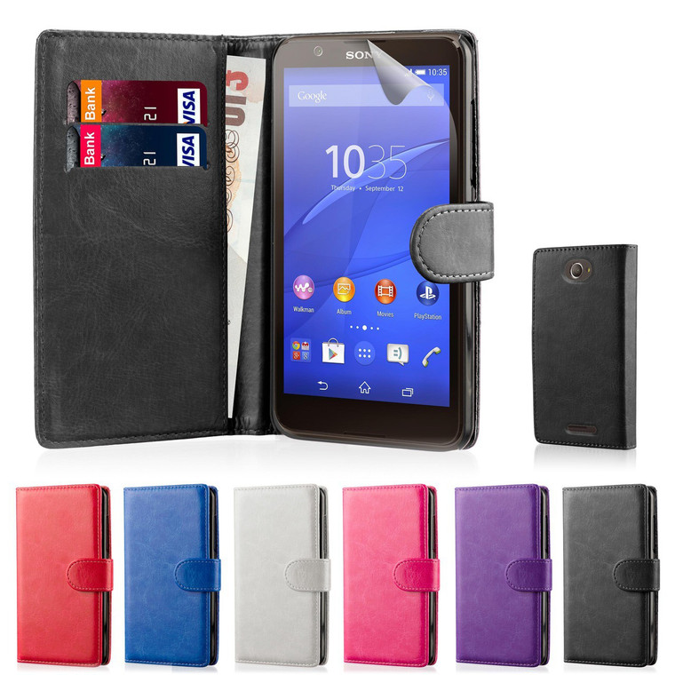 32nd faux leather book wallet Sony Xperia E4 Case in a great range of colours.