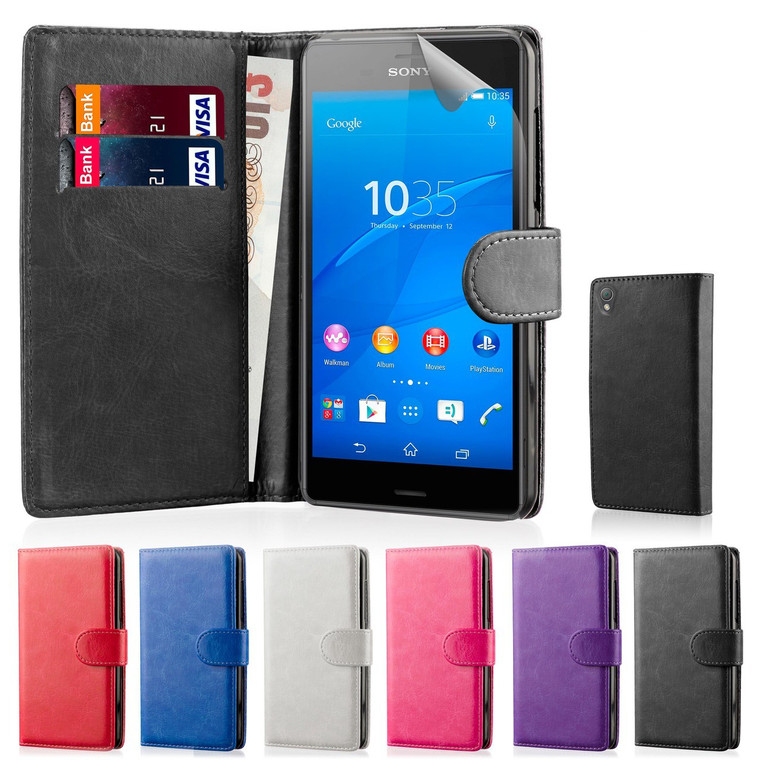 32nd Shop book wallet Sony Xperia Z5 Compact case made from synthetic leather, including screen protector and stylus.