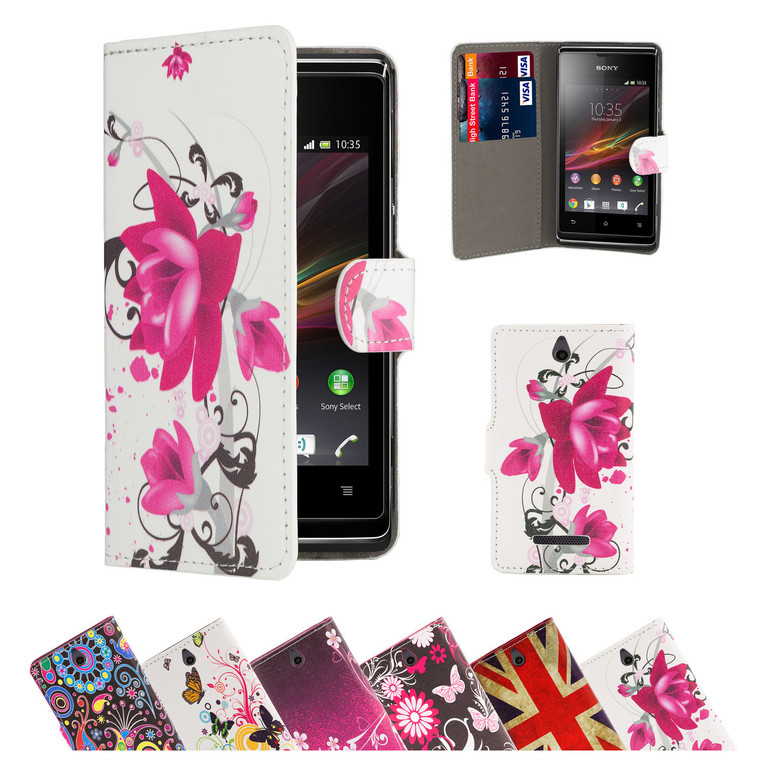 32nd faux leather design book wallet Sony Xperia E1 Case.