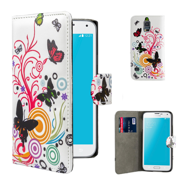 32nd faux leather design book wallet Samsung Galaxy S5 Mini Case.
