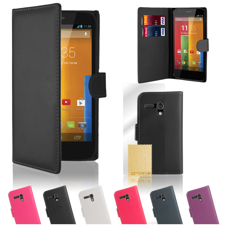32nd synthetic leather book wallet Motorola Moto G2 Case in a great range of colours.