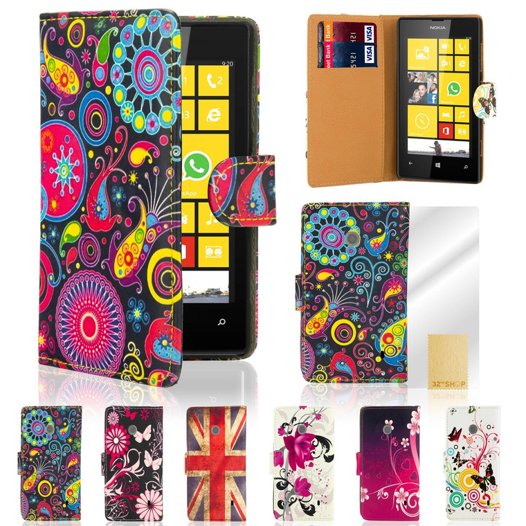 32nd synthetic leather design book wallet Nokia Lumia 520 Case.