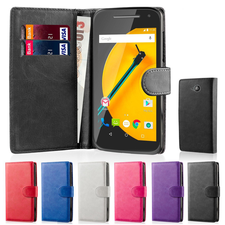 32nd faux leather book wallet Motorola Moto E Case in a range of stylish colours.