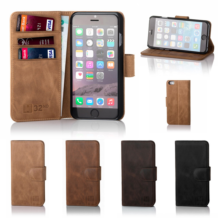 32nd premium leather book wallet Apple iPhone 6 Plus 5.5 inch Case.