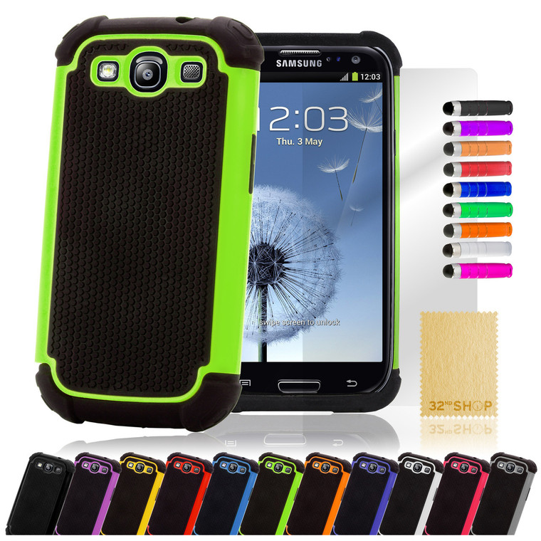 32nd dual-layer shockproof Samsung Galaxy S3 Case in a range of great colours.