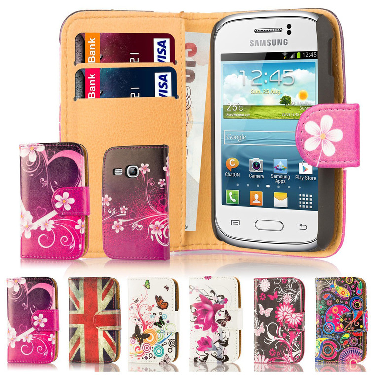 32nd attractive leather design book wallet Samsung Galaxy Young Case.