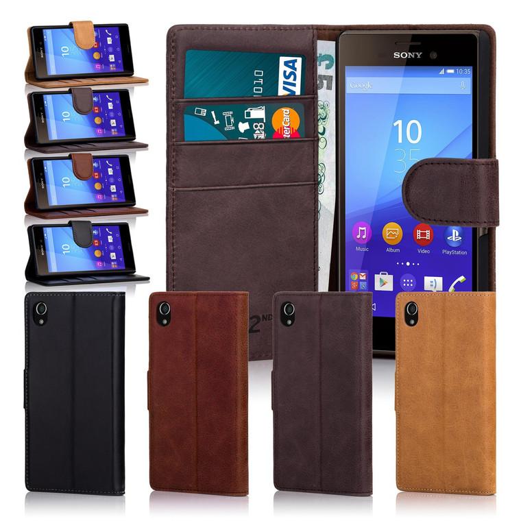 32nd premium leather book wallet Sony Xperia M4 Aqua Case.