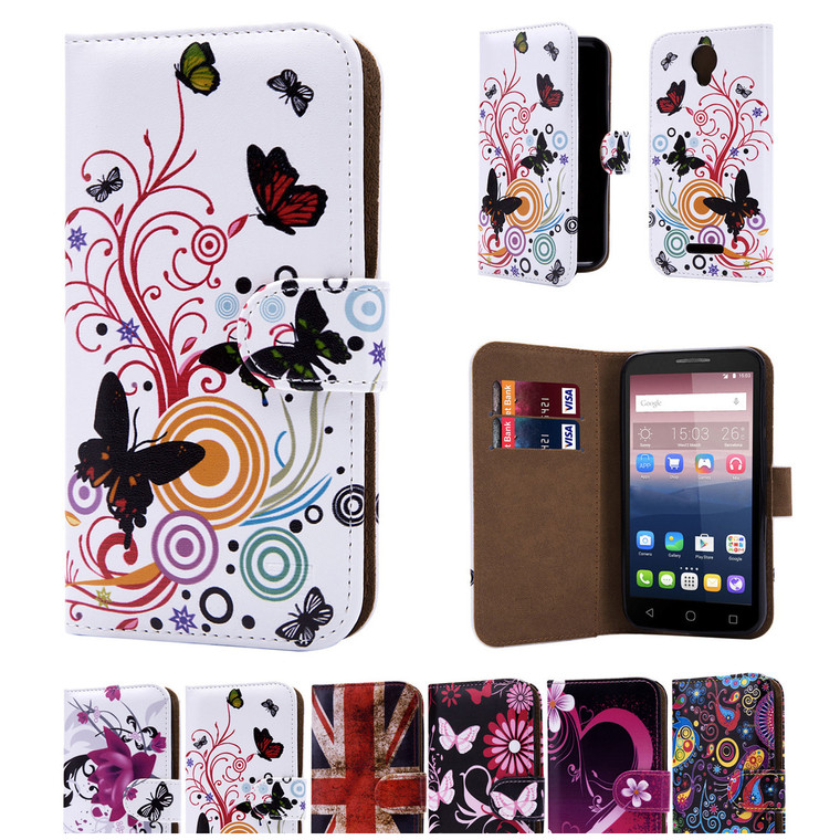 """32nd colourful synthetic leather design book wallet Alcatel Pixi 4 4.0"""" Case."""