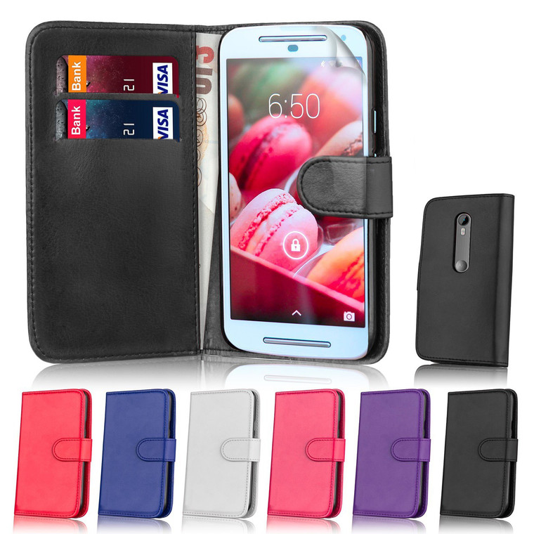 32nd Shop book wallet Motorola Moto G4 Play Case comes in a range of 6 colours and features card slots and storage compartment.