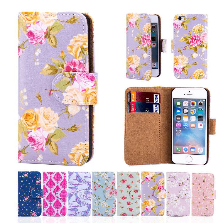 32nd synthetic leather floral design book wallet Apple iPhone SE Case.