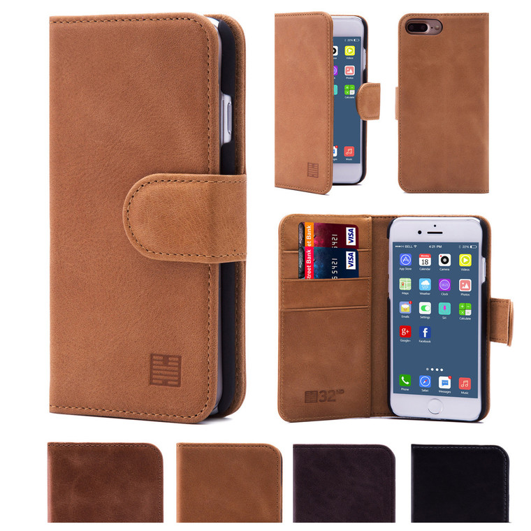 32nd premium leather book wallet Apple iPhone 7 Plus 5.5 inch Case.