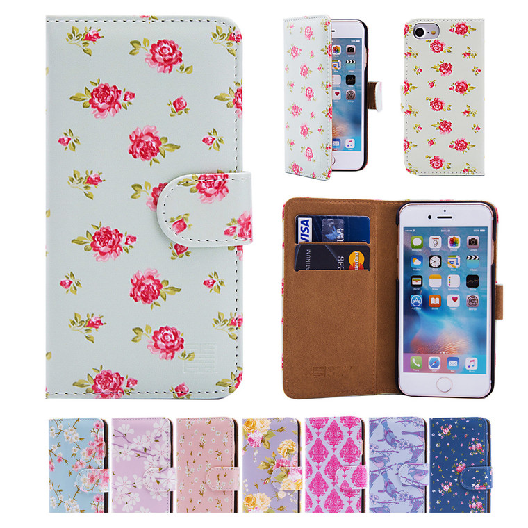32nd synthetic leather floral design book wallet Apple iPhone 7 4.7 inch Case.