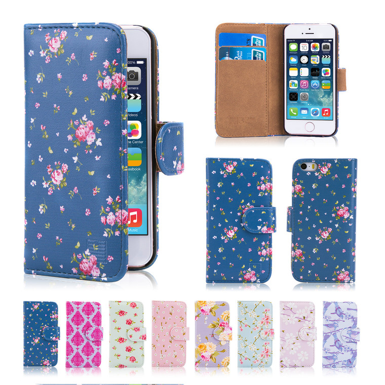 32nd synthetic leather floral design book wallet Apple iPhone 7 Plus 5.5 inch Case.