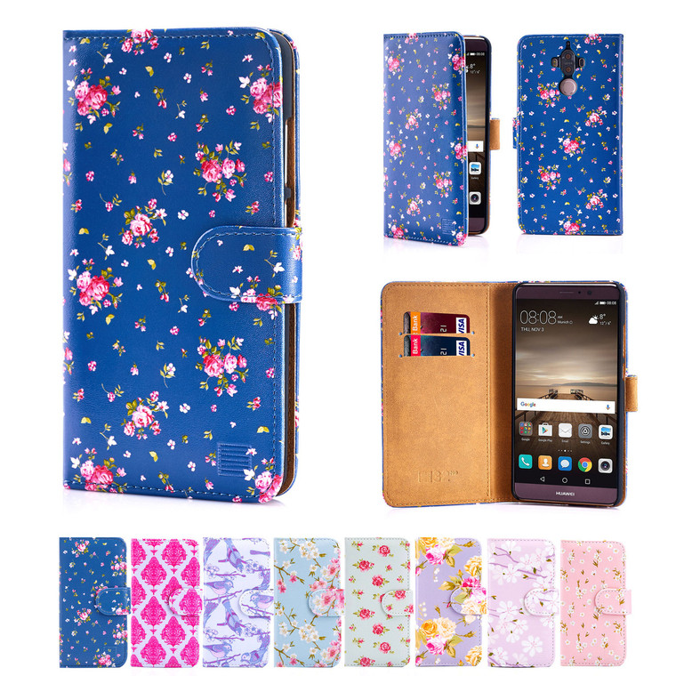 32nd synthetic leather floral design book wallet Huawei Mate 9 Case.