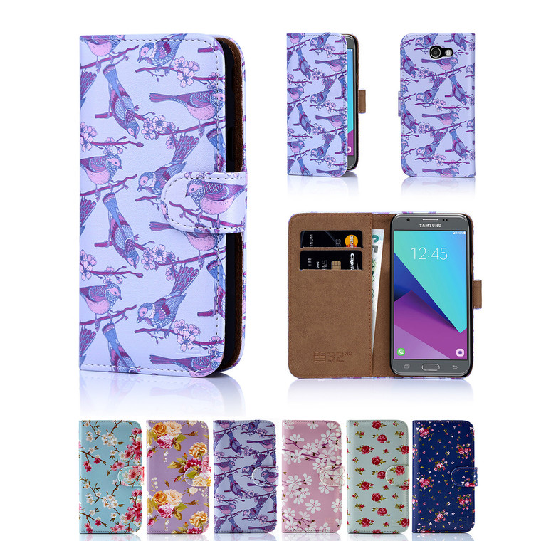 32nd synthetic leather floral design book wallet Samsung Galaxy J3 (2017) Case.